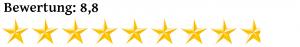 Acht Komma Acht Sterne Bewertung