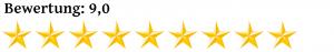 Neun Komma Null Sterne Bewertung