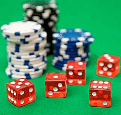 Pokerchips mit Würfel